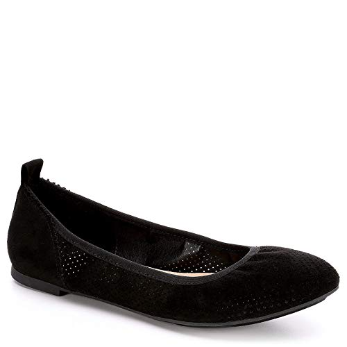 XAPPEAL Womens Clair Slip On Ballet Flat Shoes, Black, US 7.