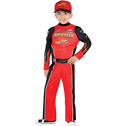 Suit Yourself Cars Lightning McQueen Muscle Costume for Boys, Size Small, Includes a Racing Jumpsuit and Baseball Cap -