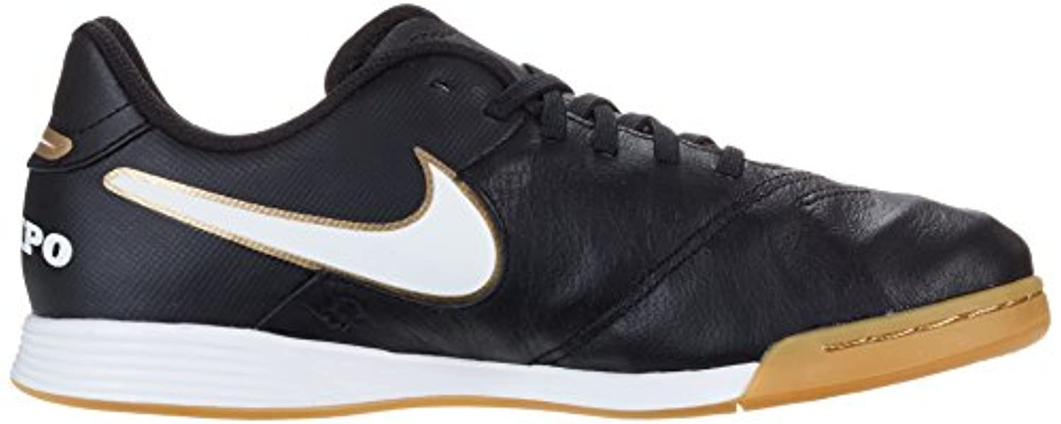 Nike Unisex Kids' Tiempo Legend VI IC Jr Football Training Shoes, Black - Schwarz (Schwarz/Weiß/Gold), 1 UK