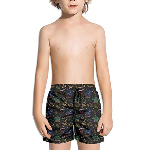 Trum Namii Boy's Quick Dry Swim Trunks Black Space Alien Astronaut Rocket Shorts -