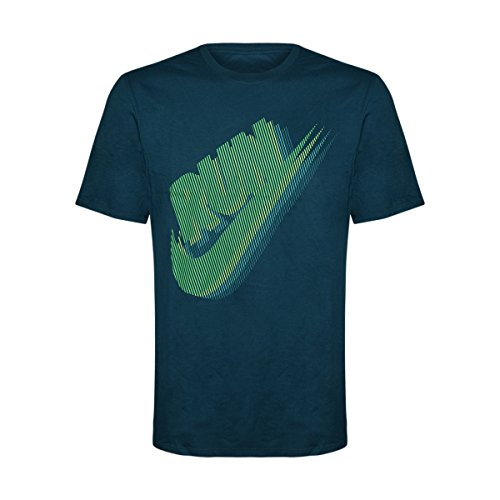 NIKE Tee Mens Short Sleeve Cotton T-Shirt Run Retro/Green/Teal, Large (Nike Basketball T Shirts)