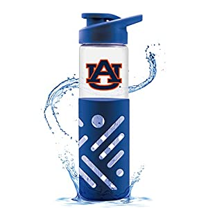 NCAA Auburn Tigers Glass Water Bottle with Carrying Handle