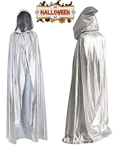 Kids Halloween Costumes Boys Girls Hooded Cloak Cape Full Length Silver Jedi Robe Cosplay Party Knight Hoodie Unisex Tunic