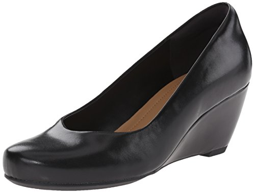 Clarks Womens Bassett Mine Wedge Pump Black Leather