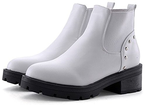 White High Easemax Booties Low Women's Ankle Toe Pull Studded On Pointed Short Chunky Elegant Heel TfAT6q
