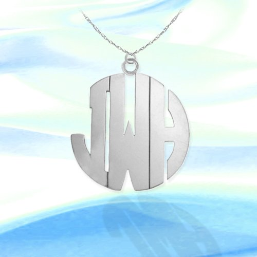 Monogram Necklace 1 1/2 inch Sterling Silver Handcrafted Cutout Personalized Initial Necklace - Made in ()