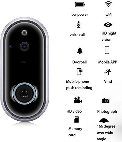 Mopoq Wireless Video Doorbell with WiFi (1080p, Security Camera with PIR Motion Detection, Night Vision, Bidirectional Conversation and Real Time Video)