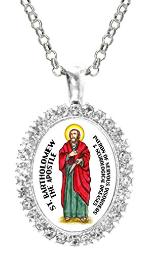 Apostle Large Pendant (St Bartholomew Apostle Neurological & Nervous Disorders Crystal Silver Pendant)
