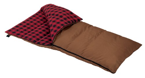 Wenzel Grande 6.5-Pounds Rectangular Sleeping Bag Brown with Red Plaid Liner
