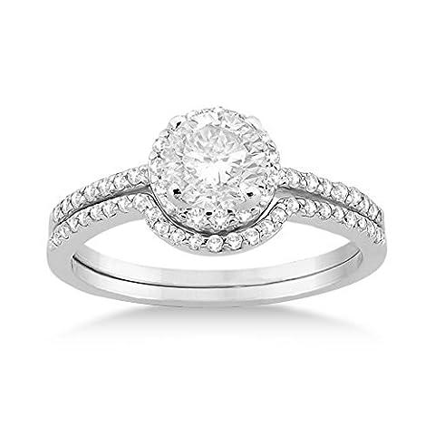 Petite Halo Diamond Engagement Ring and Wedding Band Platinum (0.40ct) - Cut Halo Petite Diamond