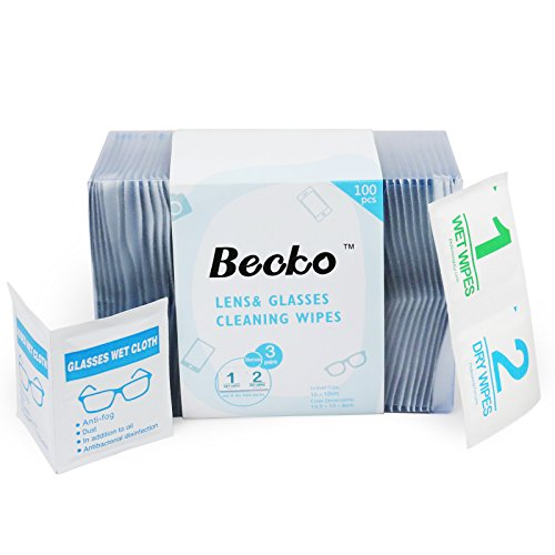 - Becko Pre-Moistened Lens Cleaning Wipes for Eyeglasses, Phone Screen, Camera, Individually Packaged, Plus Three Wet and Dry Wipes - 100 pcs