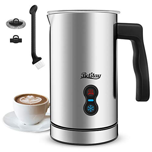 Betitay Electric Milk Frother Steamer,Automatic Hot Cold Foam Maker,Strix Control System for Coffee,Macchiato,Cappuccino,Latte including Heating & Frothing Whisk,500W