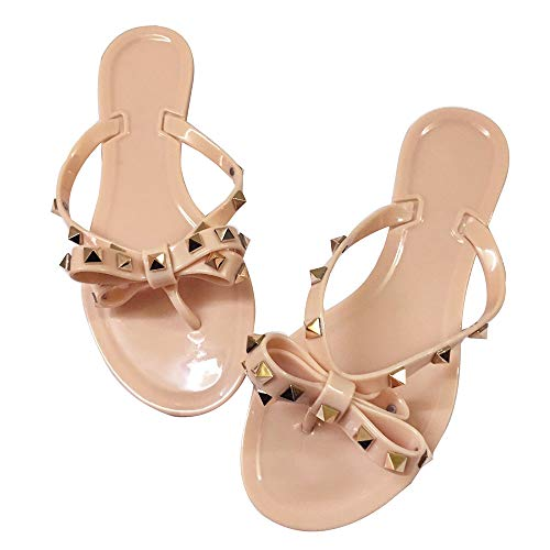 Women's Bow Studded Flip Flops Jelly Sandal Summer Beach Bath Thong Slippers Nude