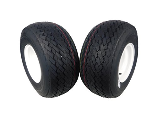 MASSFX Wheel & Tire Golf Cart Tire 18x8.5-8 with White MASSFX 8x7 4/4 Rim 2 PACK (Best Golf Cart Tires)