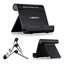 Aibocn® Portable and Adjustable Tablet Cell Phone Stand Holder [ Multi-Angle Durable Aluminum Body ] for iPhone 6 Plus 5 5S 5C ,iPhone 4 4S , iPad 2 3 4 iPad Mini , iPod , Samsung Galaxy S3 S4 Note 2 , Samsung Note 8.0 Note 10.1 , HTC M8 Google Nexus 5 7 10 , E-readers and Other 4-10 Inch Tablet MID Smart Phone - Black Color