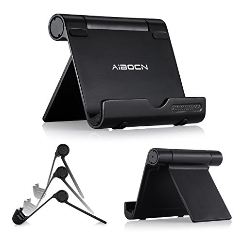 (Aibocn Upgraded Multi-Angle Aluminum Stand for Tablets Smartphones and E-readers Compatible With iPhone iPad Air iPod Samsung Galaxy / Tab HTC Google Nexus LG OnePlus and More, Black)
