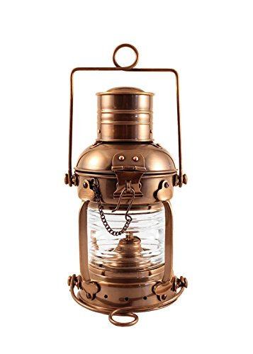 Coastal Christmas Tablescape Décor -  Antique brass hurricane anchor ship's oil lantern