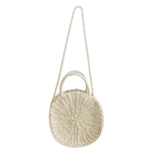 Tessuto Mano A Donna Beige Viaggio Zreal Spiaggia Crossbody Shoulder Straw Per Da Zipper Bag Borsa vyqUA