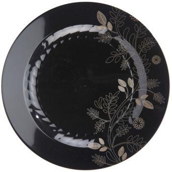 Masterpiece Sonata 10-1/4-inch Plastic Plates, Black 12 Per Pack