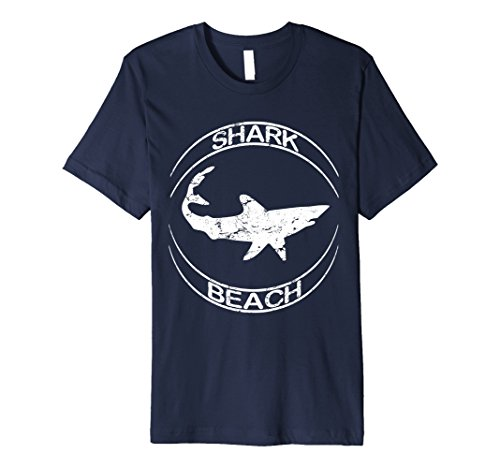 Mens Shark Beach Distressed Vintage Look Shark T Shirt 3XL Navy