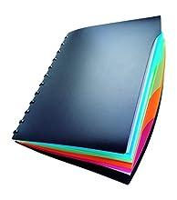 Durable 243501 Duralook Style - Carpeta de presentación con 20 fundas extraíbles y 4 separadores de colores, color negro