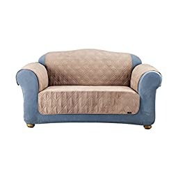 Sure Fit Quilted Pet Throw  - Loveseat Slipcover  - Taupe (SF37267)