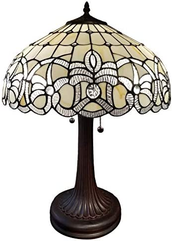 Amora Lighting Tiffany Style Table Lamp Banker 24 Tall Stained Glass White Grey Jeweled Beads Vintage Antique Light D cor Living Room Bedroom Handmade Gift AM293TL16B