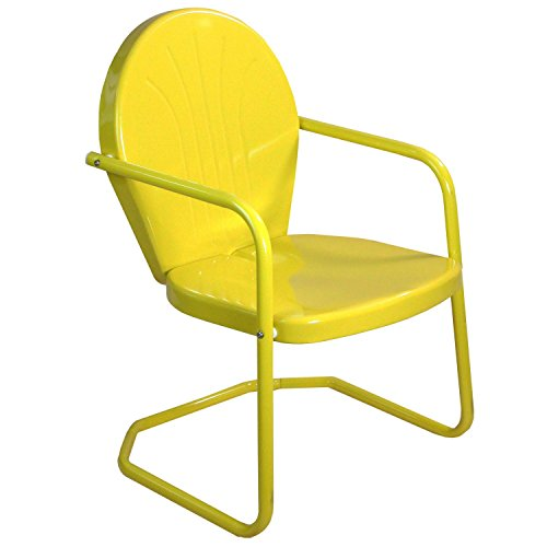 LB International 34″ Sunshine Yellow Retro Metal Outdoor Tulip Chair For Sale