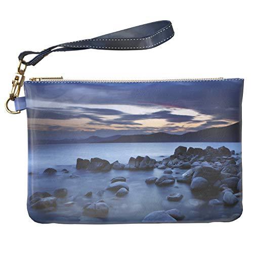 Lex Altern Makeup Bag 9.5 x 6 inch Seascape Ocean Stone Beach Nature Scene Shore Toiletry Women Zipper Organizer Bathroom Storage Wristband Girly Accessories Print Purse Pouch Cosmetic Travel Case