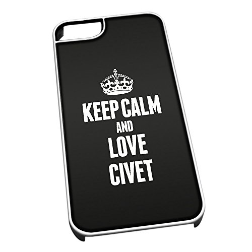 Bianco cover per iPhone 5/5S 0969 nero Keep Calm and Love Civet