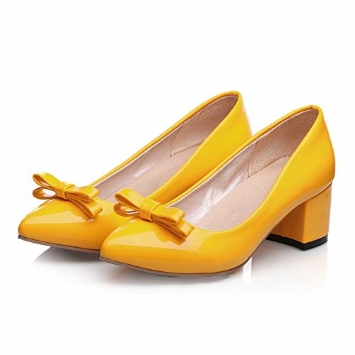 Carol Shoes Women's New Style Fashion Mid Heel Bows Court Shoes Yellow ZTXIljxUkt
