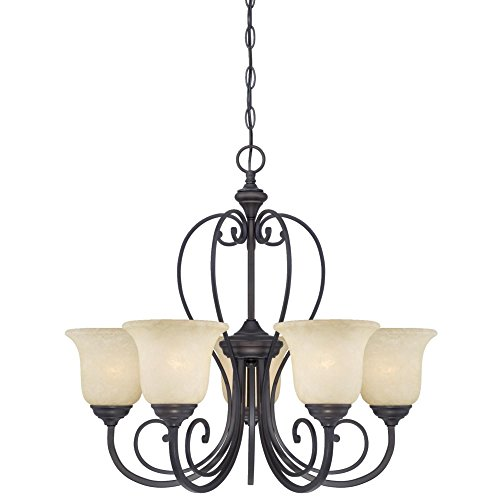 Cheap Westinghouse 6340700 Callan Five-Light Indoor Chandelier, Oil Rubbed Bronze Finish with Caramel Scavo Glass