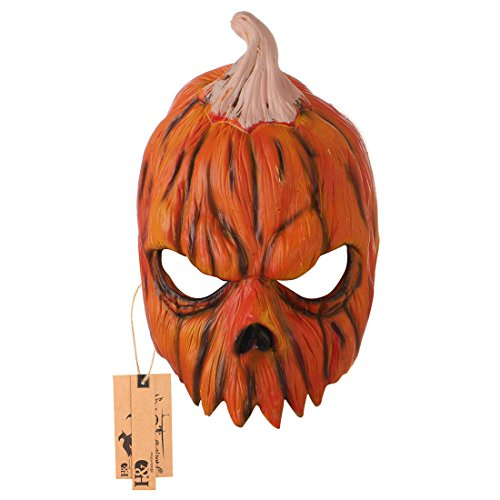 Jack O Lantern Mask Pumpkin Mask Halloween Costume Party Props Latex Monster Masks for Adults (Pumpkin) -