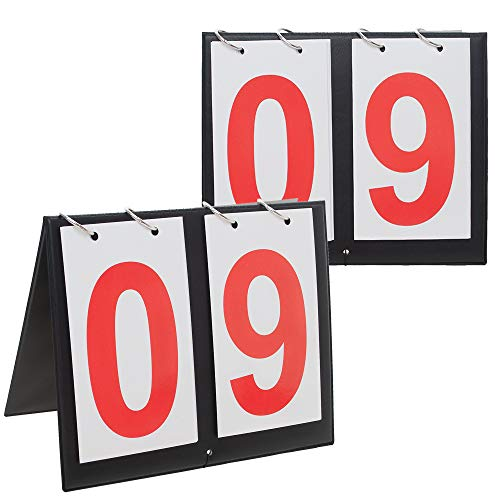 (GOGO 2 Sets Portable Table Top Sports Scoreboards, 00-99-Red Number)