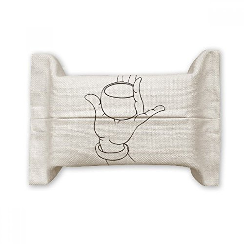 DIYthinker Buddhism Hand Cup Line Drawing Pattern Cotton Linen Tissue Paper Cover Holder Storage Container Gift