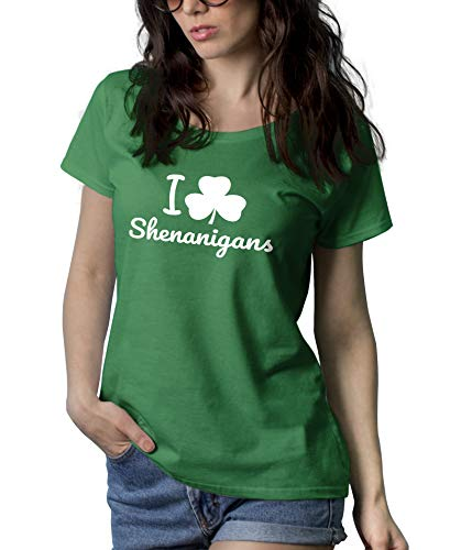 Womens Green St Patricks Day Shirt - I Love Shenanigans Shirt Women | Shenanigans, M -