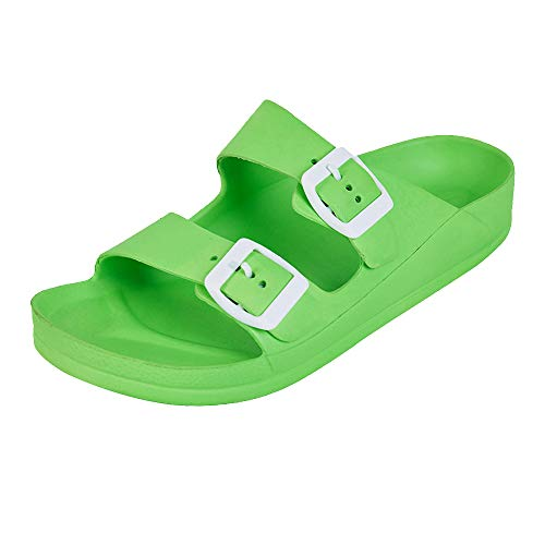 Buckle Big Sandals - FUNKYMONKEY Women's Comfort Slides Double Buckle Adjustable EVA Flat Sandals (6 M US-Women, Fluo Green)