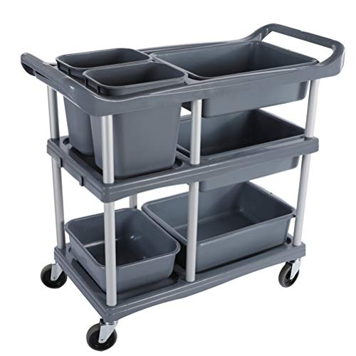 Trolley Bowl (Ynlyxy Kitchen Trolley Cart, Multifunctional Plastic Serving Cart with Handle and Storage Box,Storage Collecting Restaurant Dining Tableware Dishes Bowl,Gray)