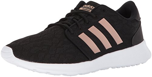 adidas Women's CF QT Racer W Sneaker, Core Black, Copper Met, White, 6.5 M US