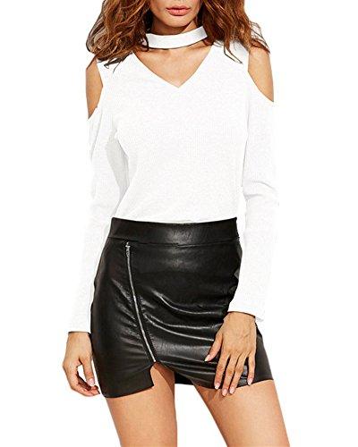 Mujer Camiseta Blusa Mangas Largas Cuello En V Casual Cuello Halter Camisa Blusa Blanco