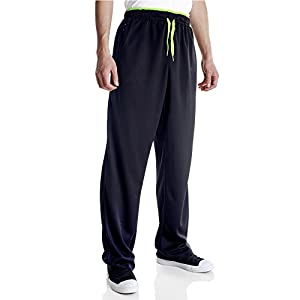 Duuluup Men Sport Pants Quick Dry Active Sports Jersey Pants Color Mixing with Zipper Pockets