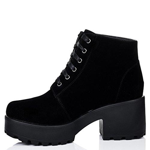 SPYLOVEBUY HOTHEAD Mujer Cordone Tacón Bloque Botes Bajas Zapatos Negro - Gamuza Sintética