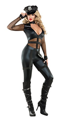 Starline Women's Excessive Force Officer Sexy Cop Costume with Hat, Black, Small