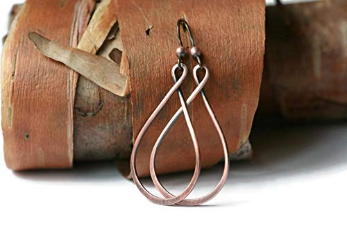 - Copper Narrow Teardrop Hoop Earrings Antique Finish