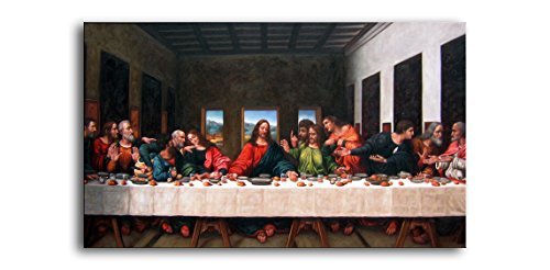 Niwo Art (TM - The Last Supper, by Leonardo Davinci, Oil Painting Reproduction - Giclee Wall Art for Home Decor, Gallery Wrapped, Stretched, Framed Ready to Hang (24