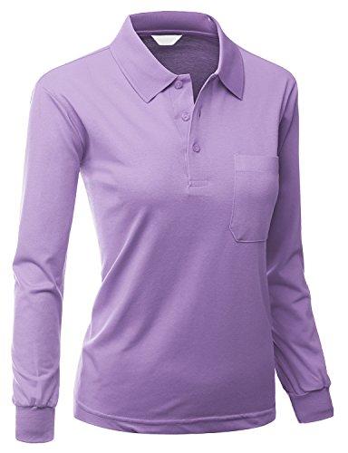 Women's Sporty ComfortablePolo Dri Fit Collar T-Shirt PURPLE