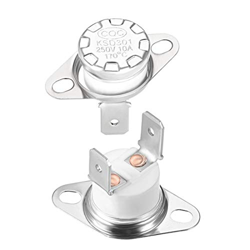 uxcell KSD301 Thermostat, Adjust Snap Disc Limit Control Switch Microwave Thermostat Thermal Switch 170°C 10A Normally Closed N.C 2pcs