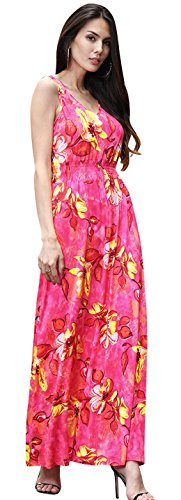 Jeansian Mujer Verano Sin Mangas Playa Holiday Largo Maxi Vestidos WHS464 Red