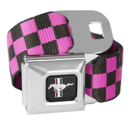 Mustang Ford Seat Belt Belt (Checkered Pink Ford Mustang Seatbelt Buckle Fashion Belt - Officially Licensed)