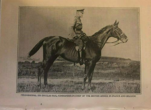 1918 Vintage Magazine Print Field Marshal Sir Douglas Haig on Horseback